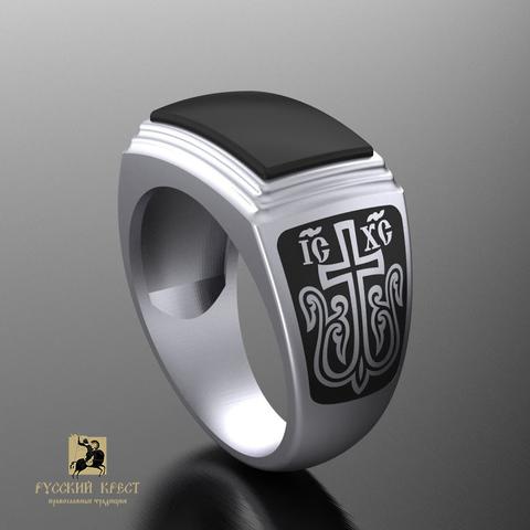Кольцо православное с нефритом