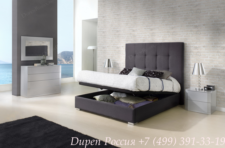 Кровать DUPEN 638 Patricia Gris, Тумба DUPEN М-102 серебро, комод DUPEN С-102 серебро, зеркало DUPEN Е-96