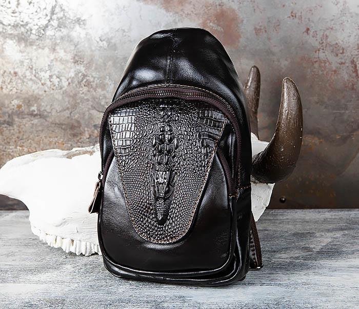BAG446-1 Рюкзак сумка с крокодилом с одной лямкой через плечо фото 01