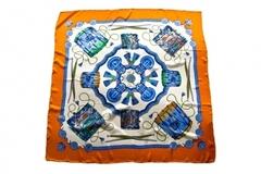 Итальянский платок из шелка оранжево-белый с орнаментом 0151