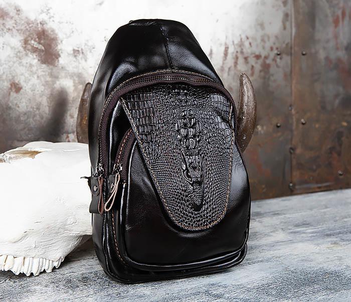 BAG446-1 Рюкзак сумка с крокодилом с одной лямкой через плечо фото 02