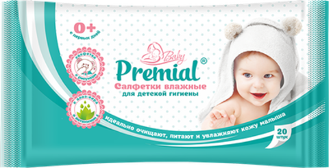 Bumfa Group Premial Салфетки влажные для детской гигиены с алое-вера 20шт