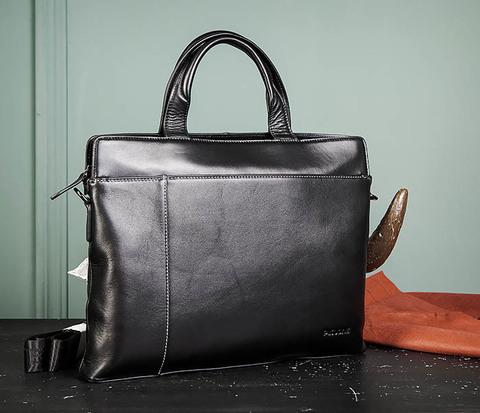 Деловая кожаная мужская сумка с ремнем на плечо
