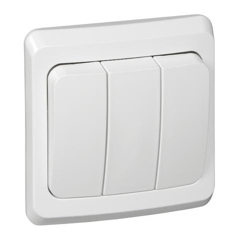 Выключатель трёхклавишный 10 АХ 250 В. Цвет Белый. Schneider Electric(Шнайдер электрик). Этюд. BC10-003B