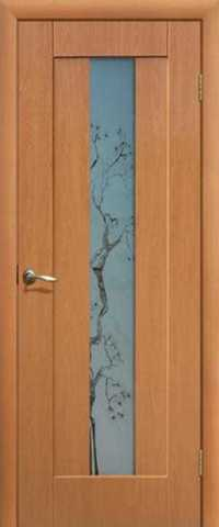 Дверь Сибирь Профиль Японская вишня, цвет миланский орех, остекленная