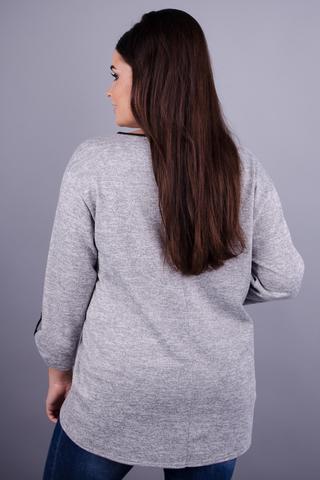Касини. Универсальная кофточка для женщин с пышными формами. Серый.