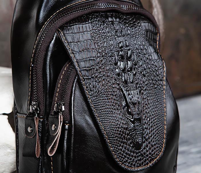 BAG446-1 Рюкзак сумка с крокодилом с одной лямкой через плечо фото 03