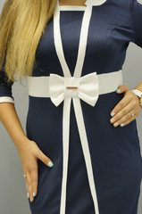 Элиз. Платья больших размеров. Синий+Белый.