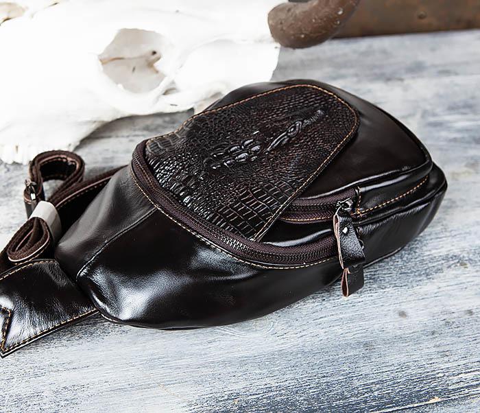 BAG446-1 Рюкзак сумка с крокодилом с одной лямкой через плечо фото 04