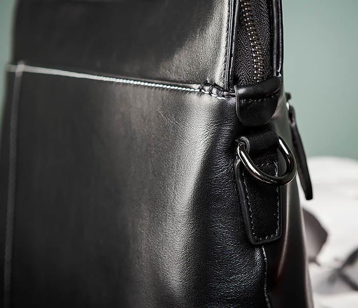 BAG486-1 Деловая кожаная мужская сумка с ремнем на плечо фото 03