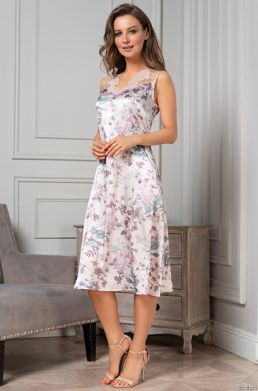 шелк натуральный Длинная сорочка женская MIA-Amore MIRACLE МИРАКЛ 3548 3548.jpg
