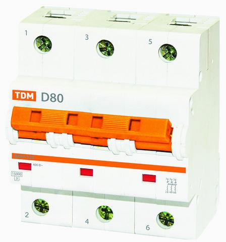 Авт. выкл. ВА47-125 3Р 80А 15кА х-ка D TDM