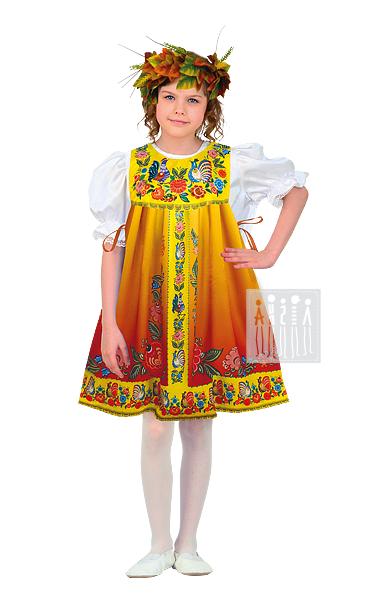 Городецкая роспись костюм для девочки Осень