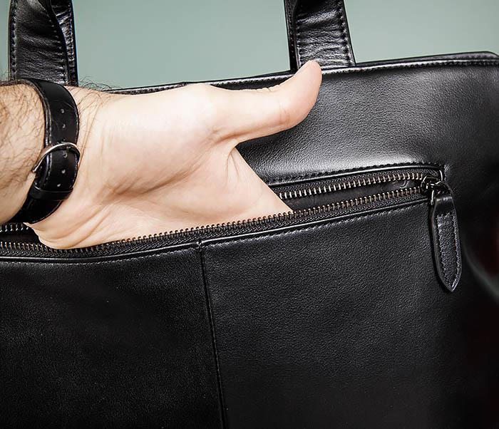 BAG486-1 Деловая кожаная мужская сумка с ремнем на плечо фото 06