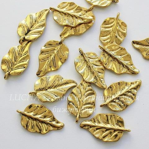 "Подвеска ""Лист"" 30х18 мм (цвет - античное золото)"
