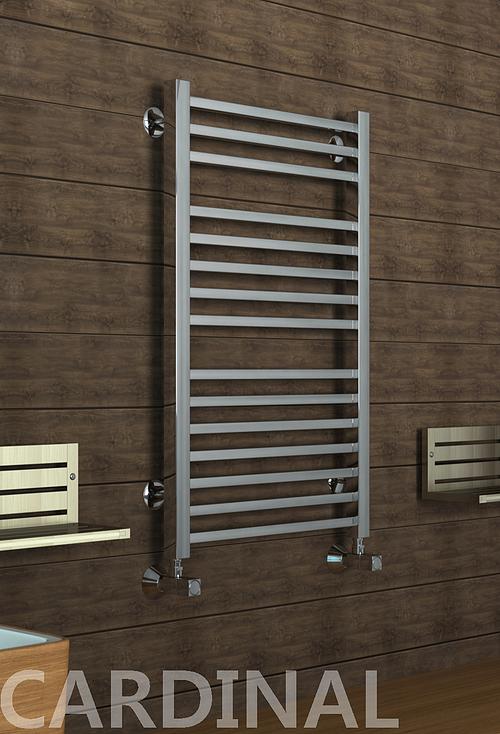 Kardinal - водяной дизайн полотенцесушитель с прямоугольными вертикалями цвета хром.