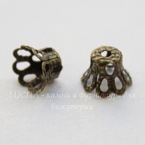 Шапочка для бусины филигранная маленькая (цвет - античная бронза) 6х5 мм, 10 штук
