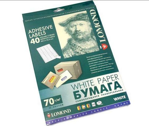 Самоклеящаяся универсальная бумага Lomond для этикеток, A4, 40 шт. (48.5 x 25.4 мм), 70 г/м2, 50 листов (2100195)