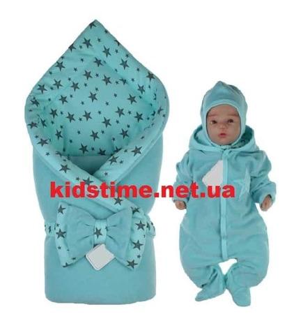 Комплект для новорожденных на выписку Звездное небо мятный
