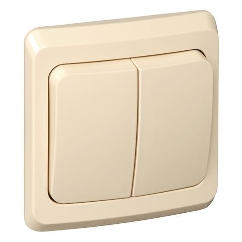 Выключатель двухклавишный с контурной подсветкой (схема 5) 10 АХ 250 В. Цвет Кремовый. Schneider Electric(Шнайдер электрик). Этюд. BC10-006K
