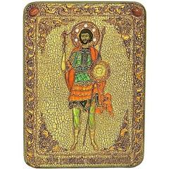 Инкрустированная Икона Святой мученик Валерий Севастийский 29х21см на натуральном дереве, в подарочной коробке