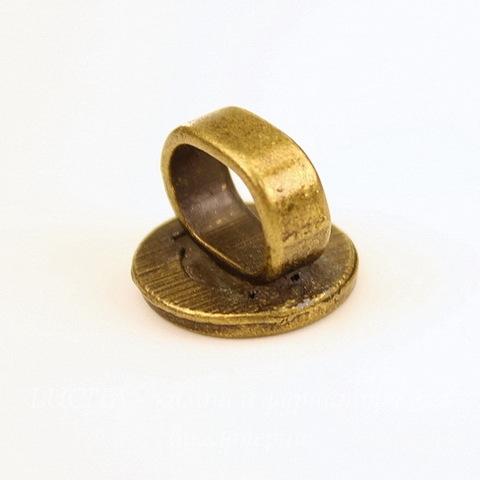 """Бусина металлическая (для шнура 10х7 мм) """"Цветок"""" 15х15х12 мм (цвет - античная бронза)"""