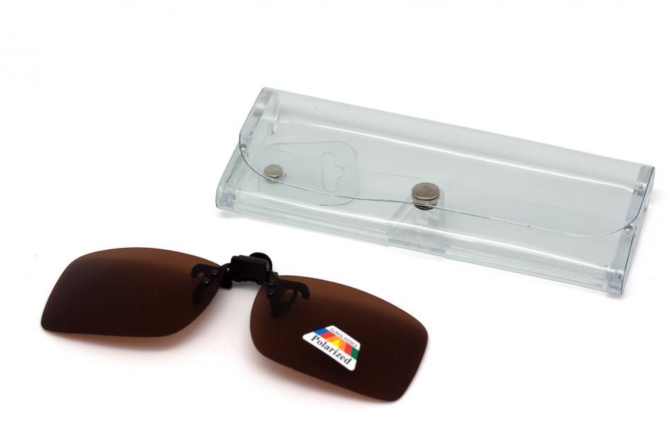 Клипон на очки Azuza с поляризацией Polarized коричневые 23%
