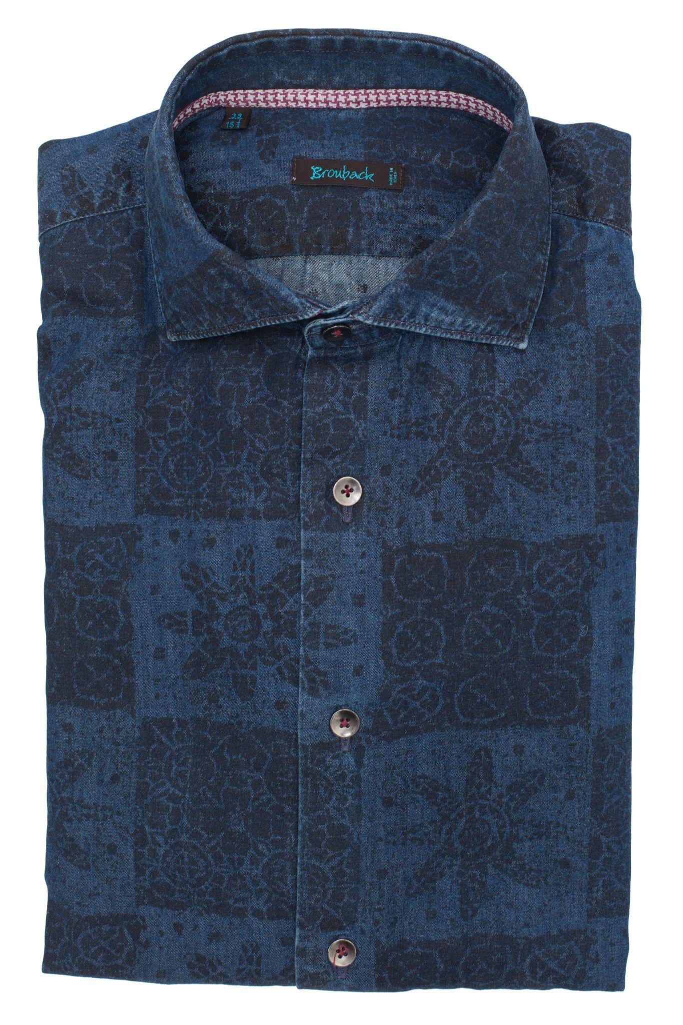 Тёмно-синяя рубашка с принтами