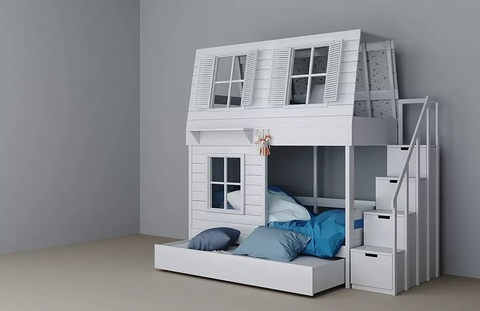 Двухъярусная кровать с лестницей-комодом