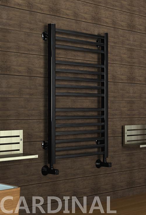 Kardinal - водяной дизайн полотенцесушитель с прямоугольными вертикалями черного цвета.