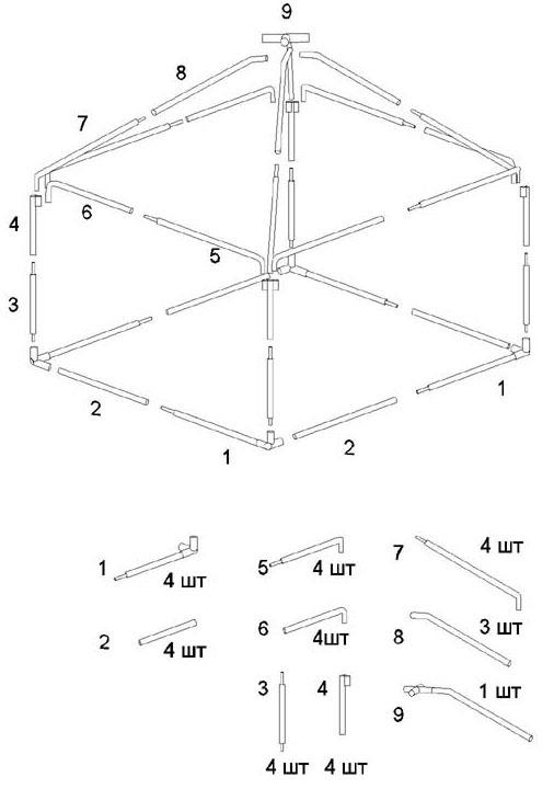 Схема сборки шатра-беседки  Митек 2,5 х 2,5 Ø 18 мм