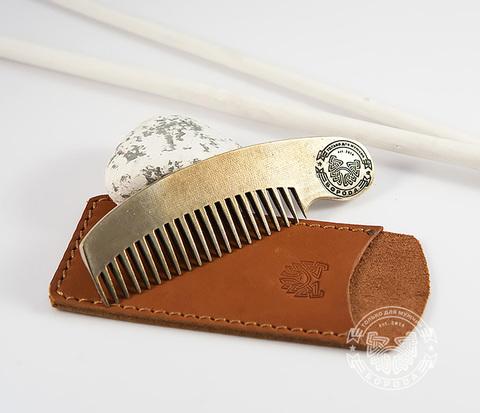 RAZ171 Классная фирменная расческа из бронзы в кожаном чехле ручной работы