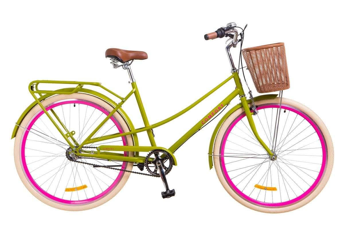 Городской женский 3-х скоростной велосипед  Dorozhnik Comfort Female PH 2018 салатного цвета