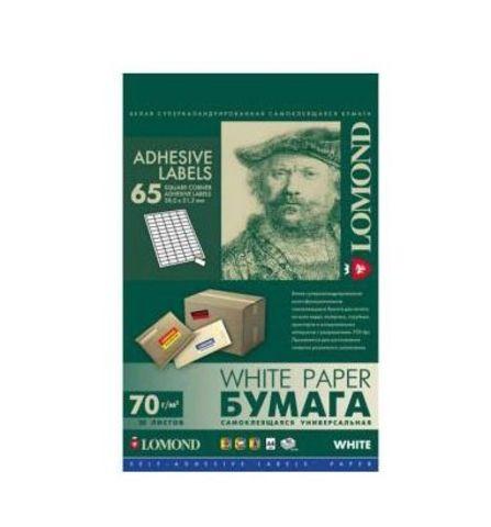Самоклеящаяся универсальная бумага Lomond для этикеток, A4, 65 шт. (38 x 21.2 мм), 70 г/м2, 50 листов (2100215)