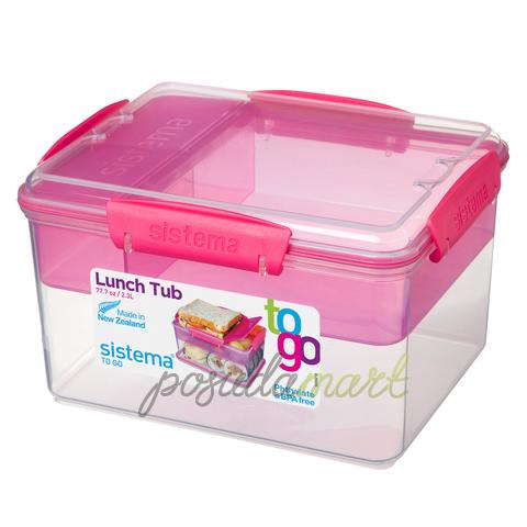 Контейнер Tо-Go двухуровневый с разделителями, розовый 2,3 л