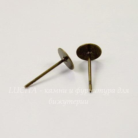 Пуссеты - гвоздики с круглой площадкой 6 мм (цвет - античная бронза)(без заглушек), 5 пар