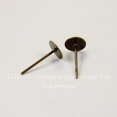 Пуссеты - гвоздики с круглой площадкой 6 мм (цвет - античная бронза) (без заглушек), 5 пар