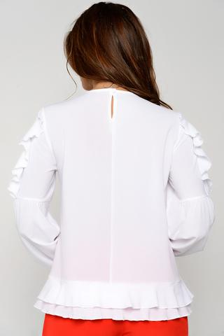 Романтическая блузка шикарного кроя. Рукав длинный на манжете с оригинальной отделкой.