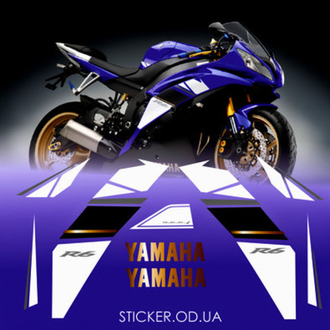 Набор виниловых наклеек на мотоцикл YAMAHA YZF-R6 2008