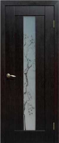 Дверь Сибирь Профиль Японская вишня, цвет венге, остекленная