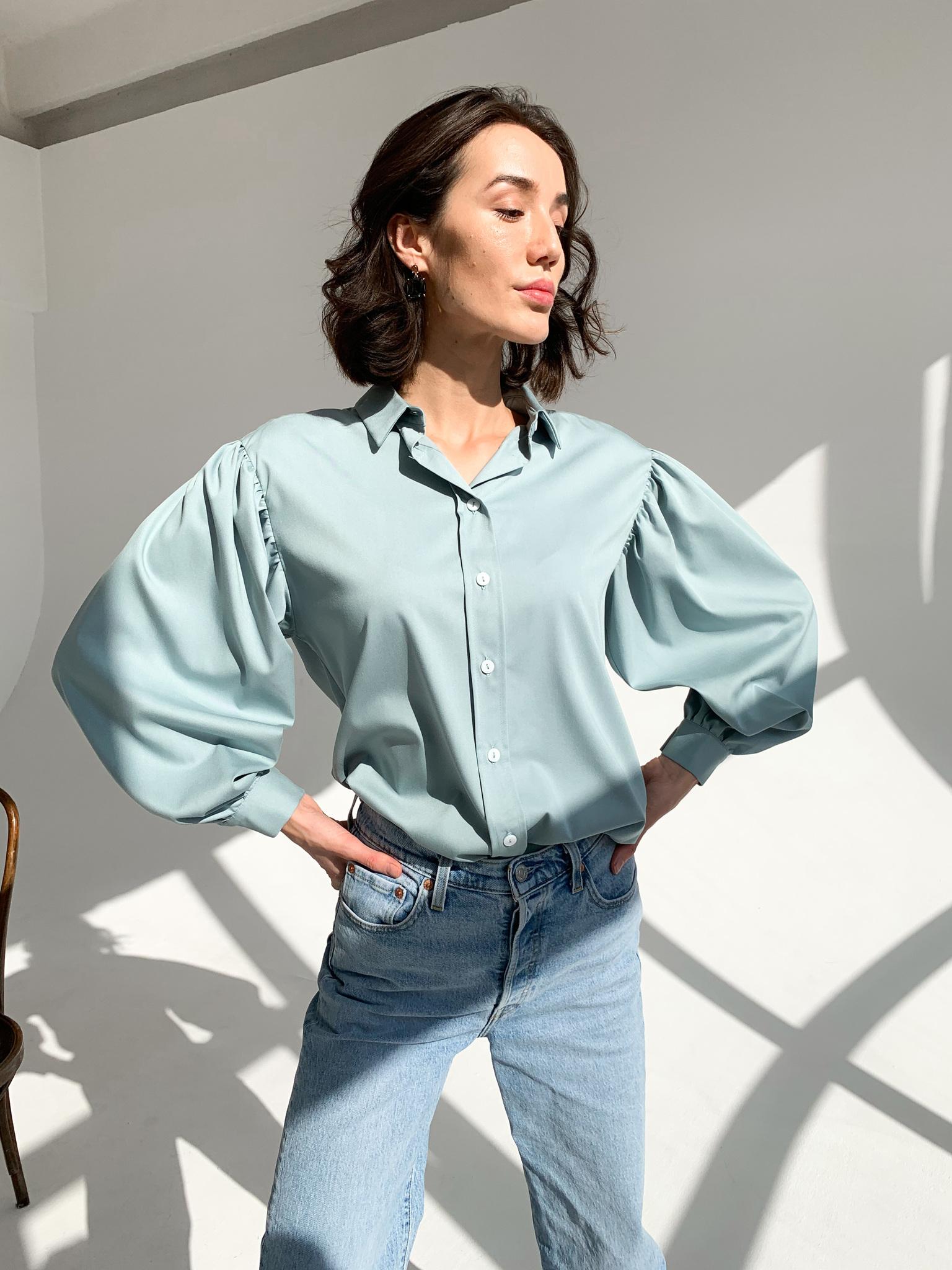 Рубашка с пышным рукавом (one size) (голубой)