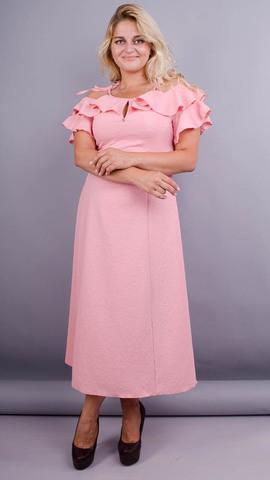 Нивея. Нежное платье для женщин плюс сайз. Персик.