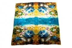 Итальянский платок из шелка желто-голубой 0326