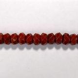Бусина из яшмы красной, фигурная, 5x8 мм (рондель, граненая)
