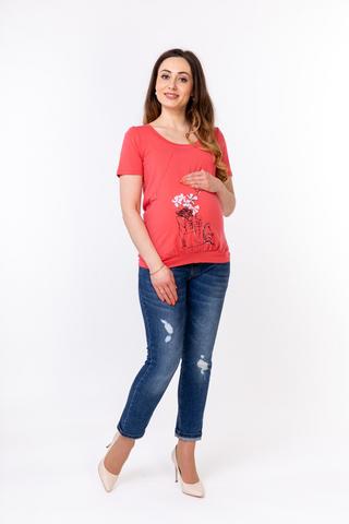 Блузка для беременных и кормящих 08827 коралл