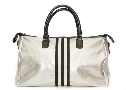 Сумка casual серебро, черная полоса