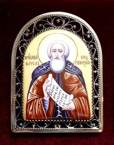 Икона финифть прп. Павел Обнорский
