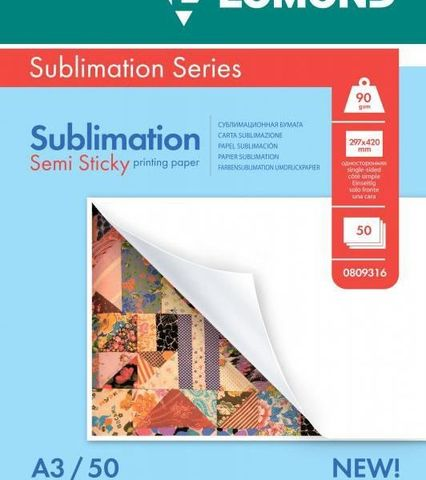 Сублимационная  матовая бумага LOMOND Semi Sticky Sublimation Transfer, A3, 90 г/м2, 50 листов (0809316)