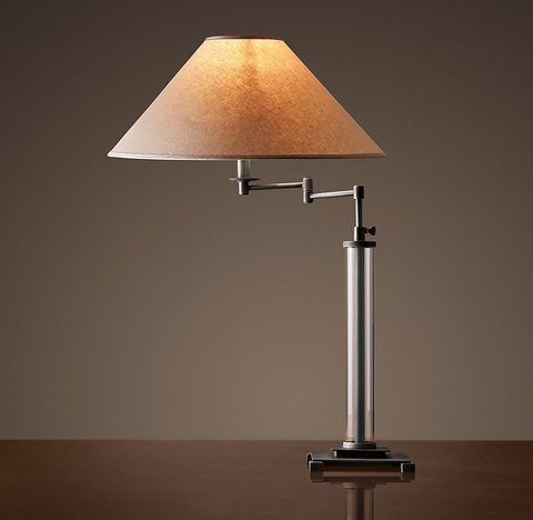 French Column Glass Swing-Arm Table Lamp