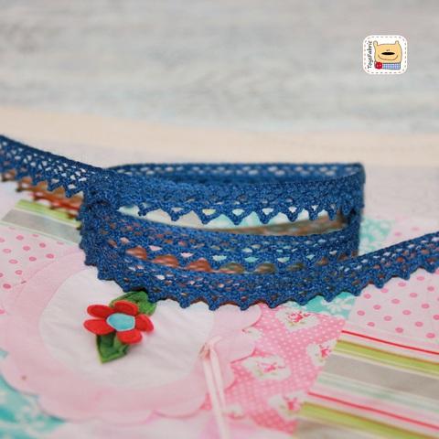 Кружево вязаное КХ6-ТС (темно синее) 90см